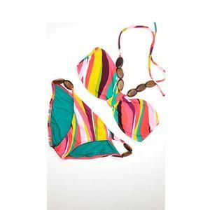 Rainbow Halter 2 pc Bikini Wood Beads Swimsuit